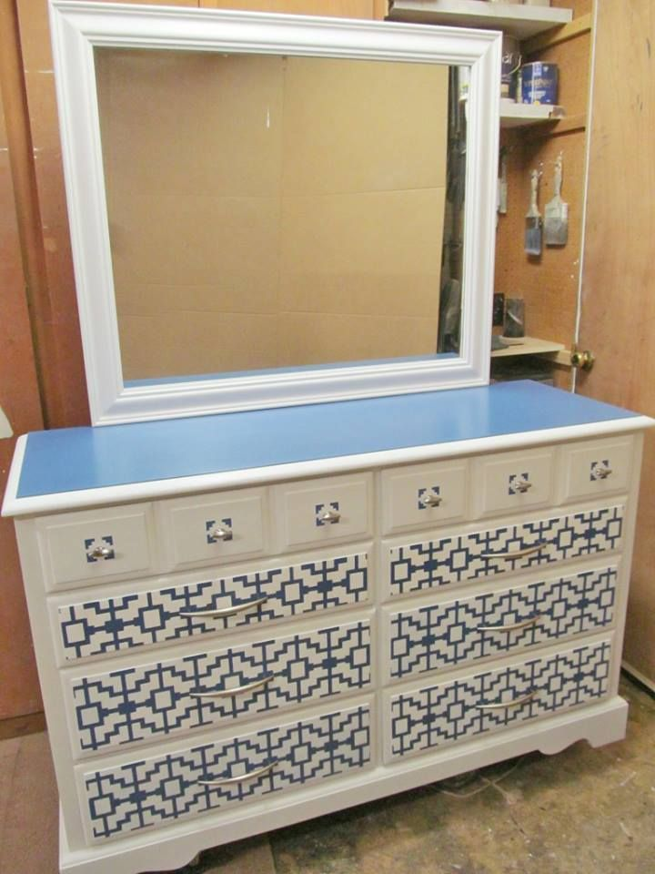 Colonial Dresser With Mirror Upcycled Paint Geometric Stencil And New Hardware