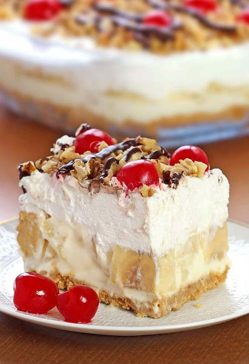 No Bake Banana Split Dessert Recipe If you're looking for some new dessert recipes, try this one on your family. It may just become your new favorite. And you won't even have to heat up your oven to do it. It does take a little longer prep time, 30 minutes, but it looks delicious, and good things come to those who wait! It also needs 4 hours of chill time to let it set up, too, so you won't want to be in a hurry when you make this recipe. No Bake Banana Split Dessert Recipe