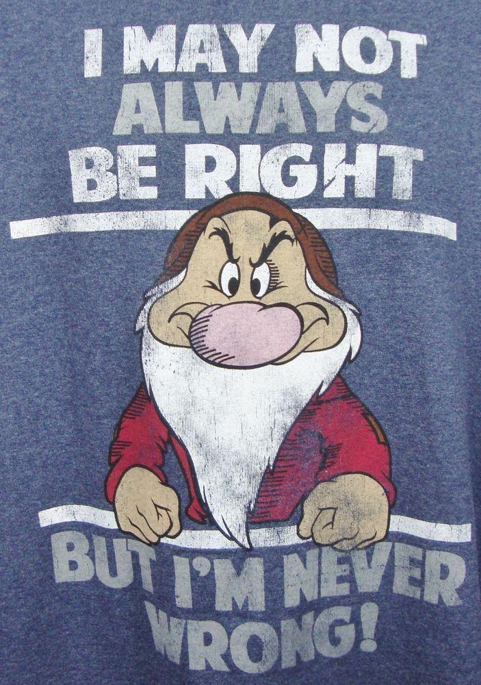 Disney Snow White 7 Dwarfs Grumpy T-shirt XL Graphic Tee Blue Cotton Blend SS #Disney #GraphicTee $16.99