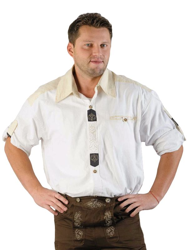 Hvit tyrolerskjorte - Oktoberfest kostymer