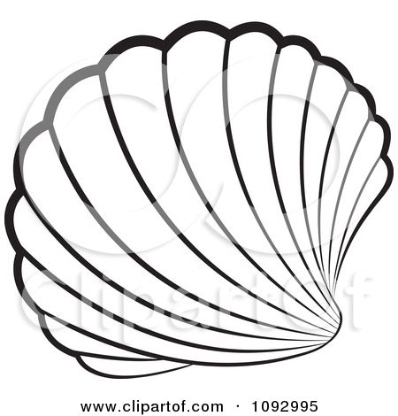 Seashell Stained Glass Patterns | Clipart Black And White Scallop Sea Shell - Royalty Free Vector ...