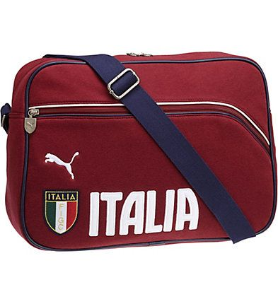 FIGC Italia Messenger Bag: There are soccer fans. And then there are Italian soccer fans. (Spend 90 minutes amongst their flag-waving, hand-wringing, chanting, cheering-like-their-lives-depend-on-it masses, and you
