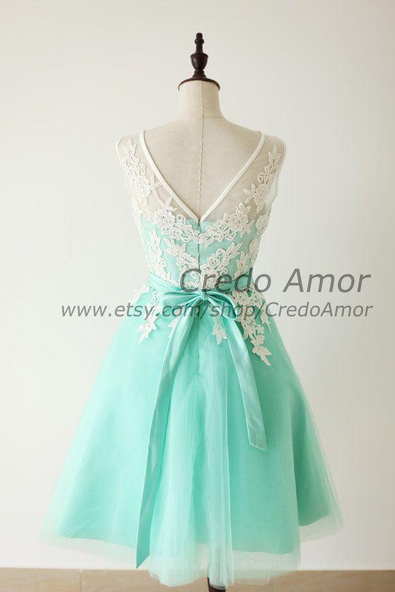 Aqua Blue Turquoise Lace Tulle Short Wedding by CredoAmor on Etsy