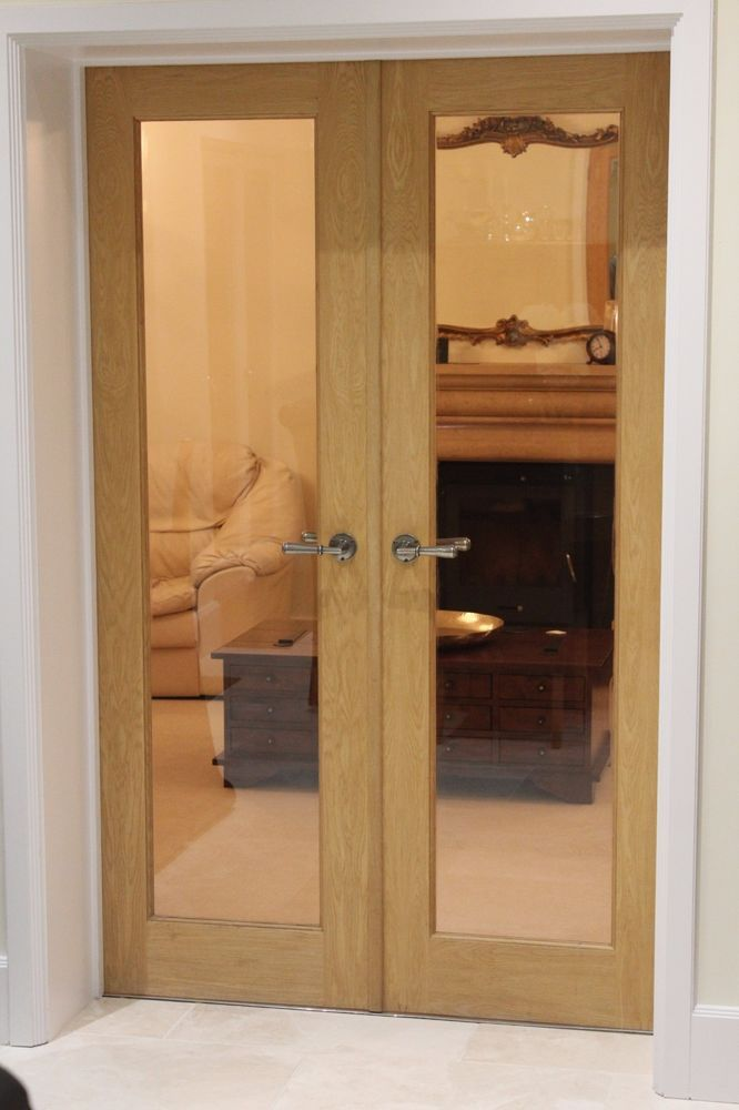 Solid Oak framed internal glazed double doors GC complete with ironmongery