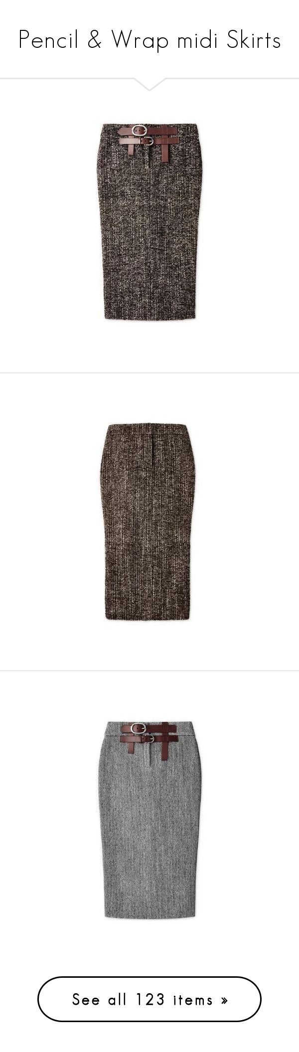 """Pencil & Wrap midi Skirts"" by lorika-borika on Polyvore featuring skirts, calf length skirts, mid-calf skirts, midi skirts, tweed midi skirt, leather belt, back zipper skirt, brown skirt, tweed skirt и herringbone skirt"
