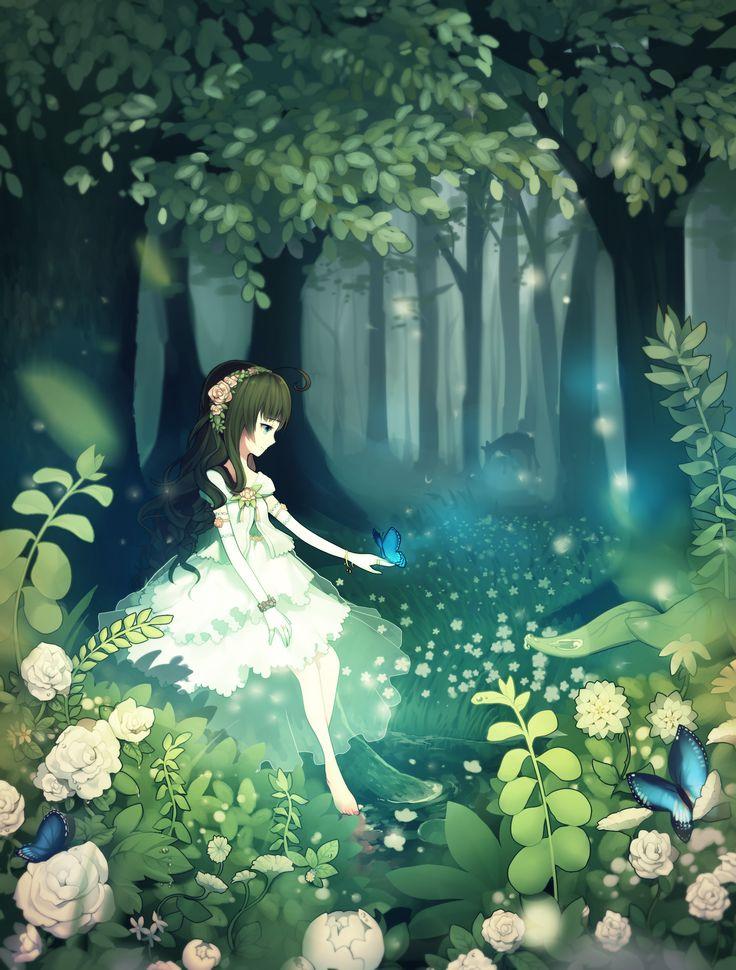 Crying Girl Wallpapers Rain Anime Girl In Forest Anime Fantasy Girls Pinterest