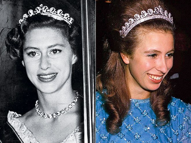 Halo tiara, Kate's tiara at the royal wedding...so much history. Given to Elizabeth by the Queen Mum for her 18th birthday. Worn by Princess Margaret and Princes Anne, as well.