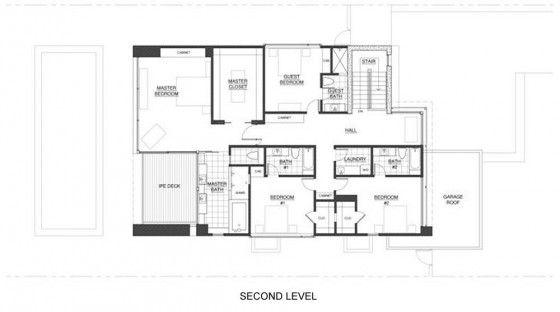 Plano de casa de dos pisos (segunda planta)