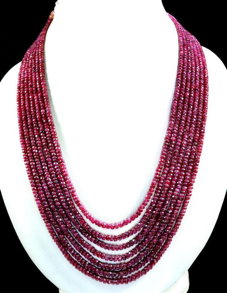 6 Strands Natural Red Ruby 700ct Faceted Beaded Gemstone String Necklace #KrishnaGemsNJewels #StrandString