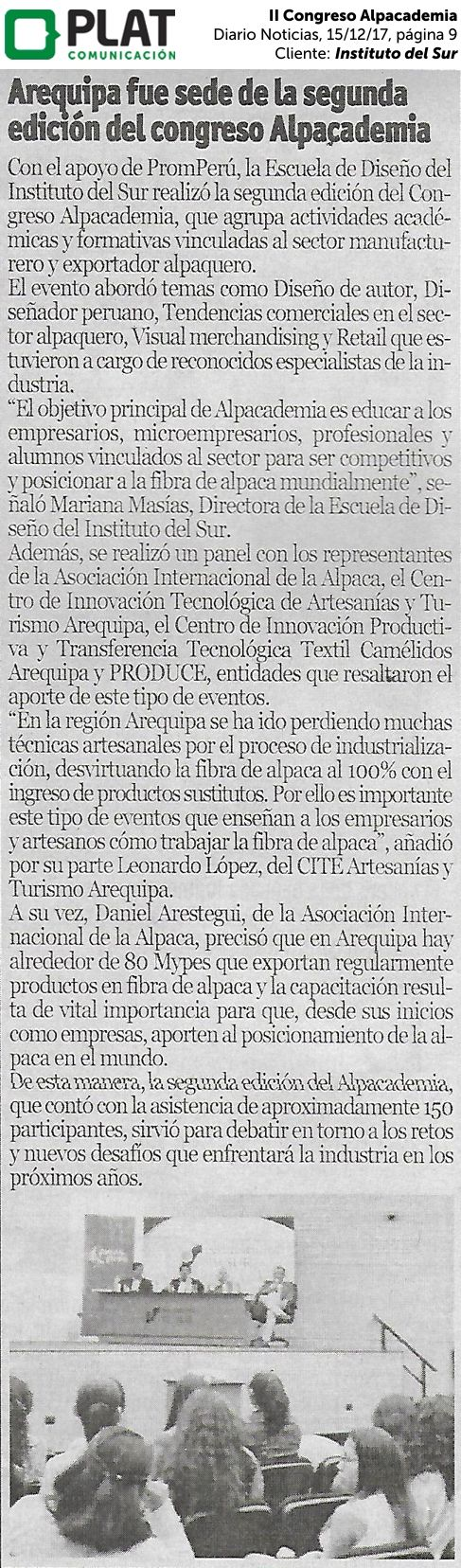 Instituto del Sur: II Congreso de Alpacademia en el diario Noticias de Perú (15/12/17)