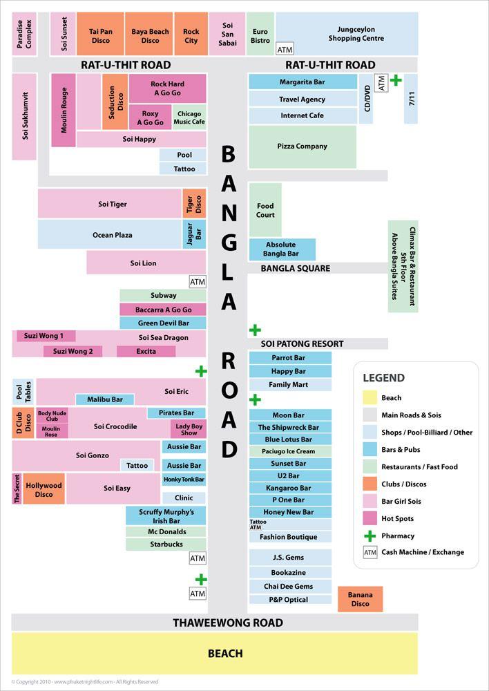 Map of Bangla Road | phuketnightlife.com | Places I'd Like ...