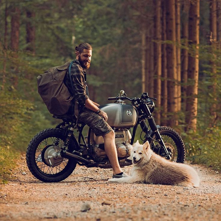 All you need in life: a classic motorcycle, a pack big enough to hold your worldly belongings, and a best friend. This is Ramon Seiler, who normally restores classic cars in his @boneshakerr workshop in the Swiss village of Bonstetten, near Zürich....