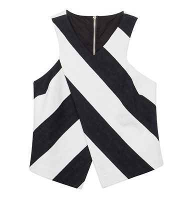 Striped asymmetrical blouse