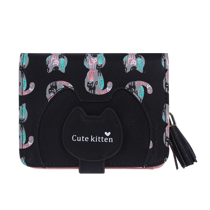 Damara Girls Cute Cat Prints Tassel Zipper Card Holder ** Check this awesome product by going to the link at the image. (This is an Amazon Affiliate link)