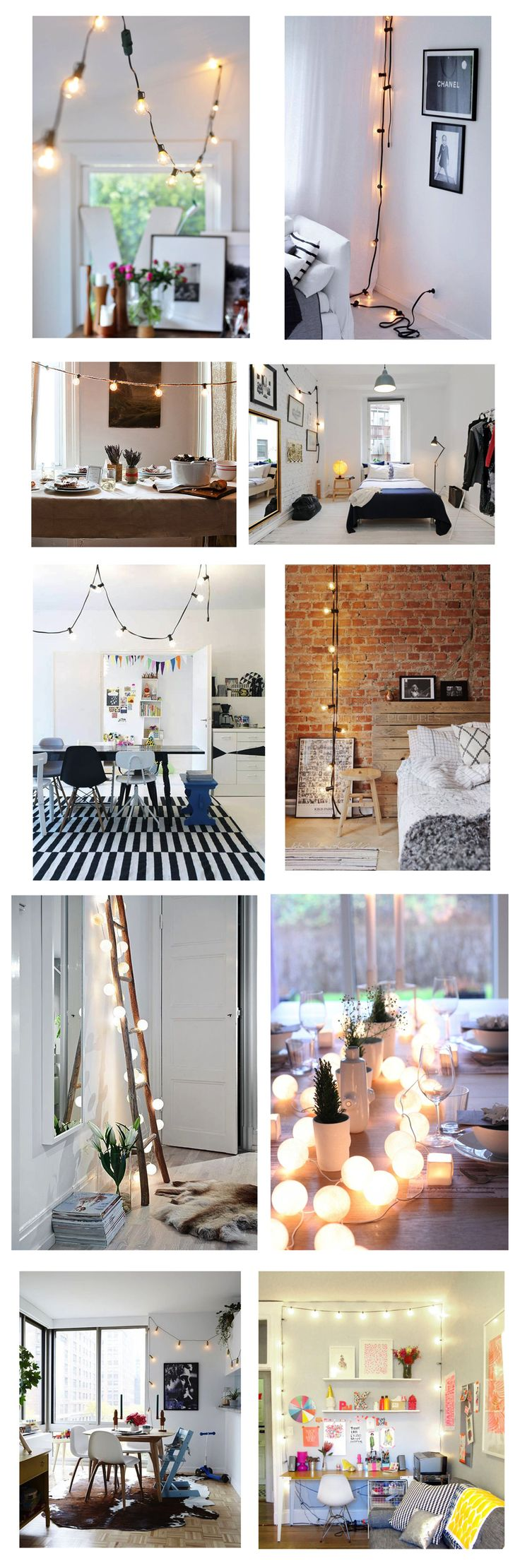 The surprisingly chic look of outdoor hanging bulb lights; a.k.a., globe lights or string lights, brought indoors.