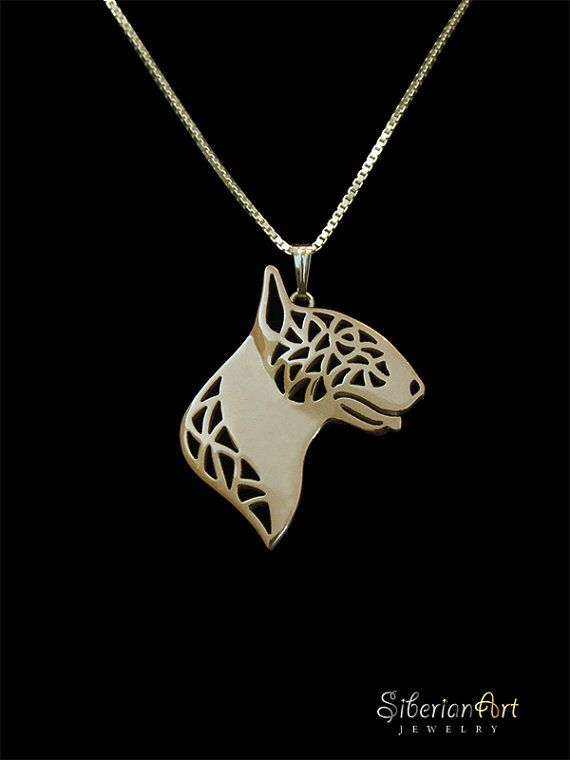 Bull Terrier gold pendant and necklace. by SiberianArtJewelry