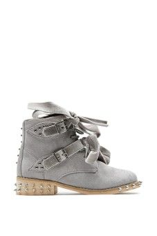 Charlotte Grey Suede Studded Ankle Boots