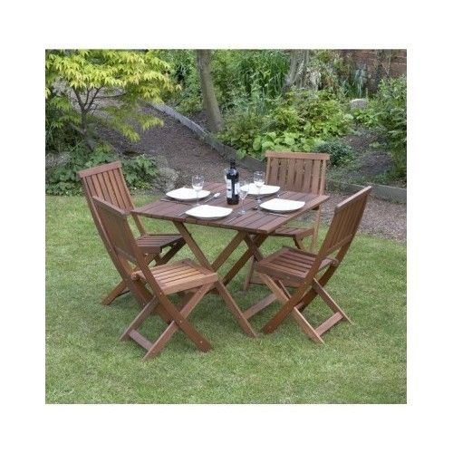 Victorian Garden Dining Set New 4 Seater Folding Chairs BBQ Patio Wood Cushions