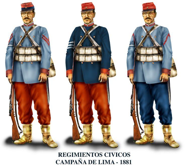 Historia militar de la Guerra del Pacífico Otra muestra de uniformes de la campaña de Lima. Coquimbo, Navales, Atacama cambiaron uniformes. El Atacama cambió su uniforme negro por uno similar al de la derecha. Pero las crónicas siguen identificando al Chacabuco con el color verde