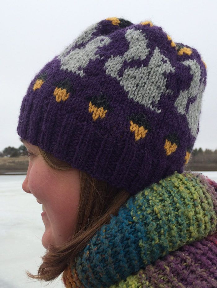 Free Knitting Pattern for Willa's Hat - Fair-isle hat knitted in the round with a squirrel and acorn design. Designed by Elizabeth Greenfield for The Craft Lizard