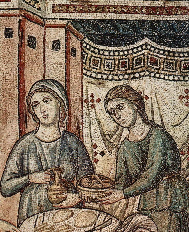 Пьетро Каваллини . «Цикл мозаик с шестью сценами из жизни Марии в церкви Санта Мария в Трастевере в Риме, Рождество Богородицы. Деталь». 1291 г.