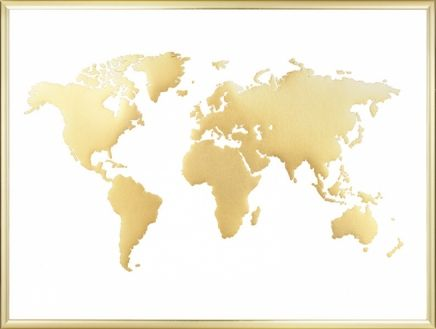 18 best world map prints images on pinterest world map poster world map poster in gold with stylish and sleek design printed with gold foil for gumiabroncs Choice Image