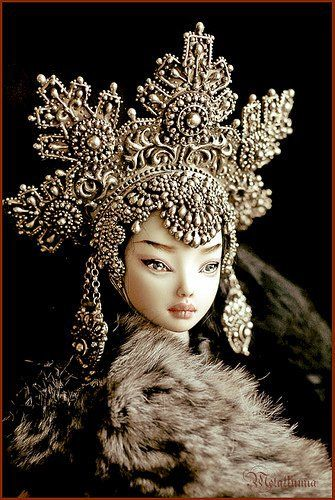 The Enchanted Doll in kokoshnik and fur, Siberian look by Marina Bychkova