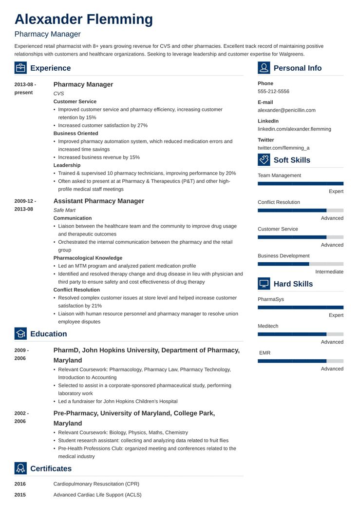 pharmacist resume template vibes in 2020 Resume template