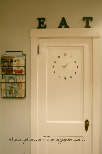 I like the rack/basket NEXT to the door! DIY door clock