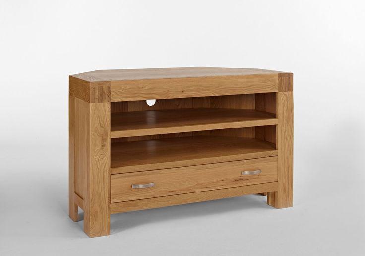 Santana Blonde Oak Corner TV Unit with 1 Drawer & 2 Shelves