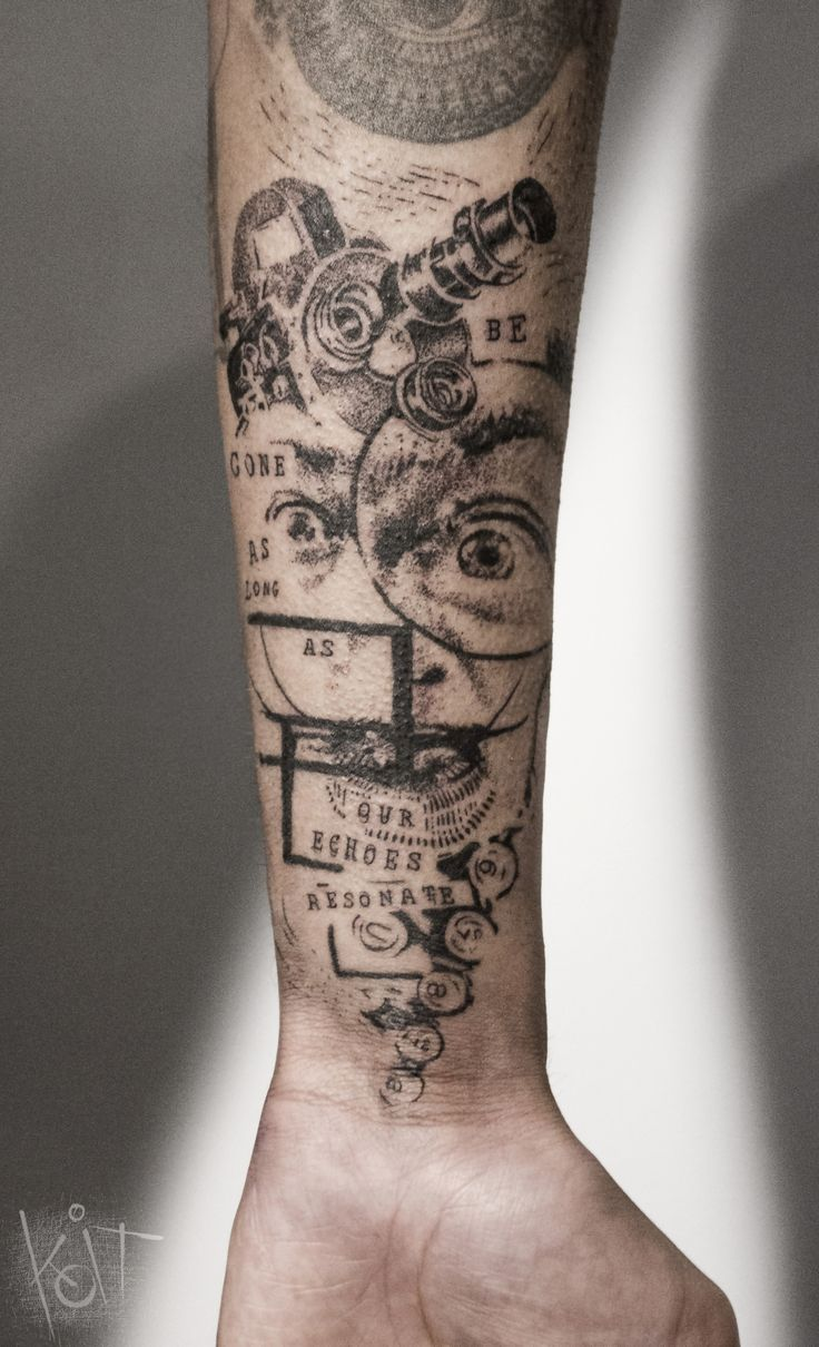 Koit Tattoo Berlin. Graphic style forearm black tattoo with a portrait of Salvador Dali, geometric shapes and quotes.   Inked   Tattoo ideas   Berlin tattoo artist   Body art   Tattoos for guys   Arm tattoo   Inspiration   Ink   Photoshop style tats   Tumblr   Tatouage   Tätowierung   Tatuaggio   Tatuaż   Tatuaje