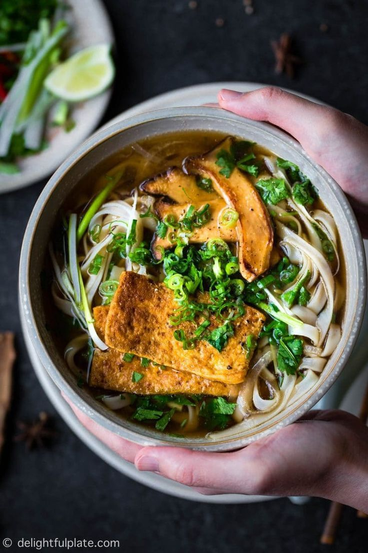 Vietnamese Vegan Pho Noodle Soup Pho Chay Delightful Plate Recipe In 2020 Vegan Soup Recipes Vegan Recipes Easy Recipes