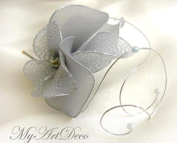 Wedding headpiece Silver hair clip  Silver fascinator by MyArtDeco