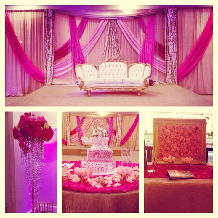 Custom 3D style stage with a fusion of pink draping. Indian wedding with a little flair! White lotus venue, Sacramento CA. decorated and designed by Elegant Decor.