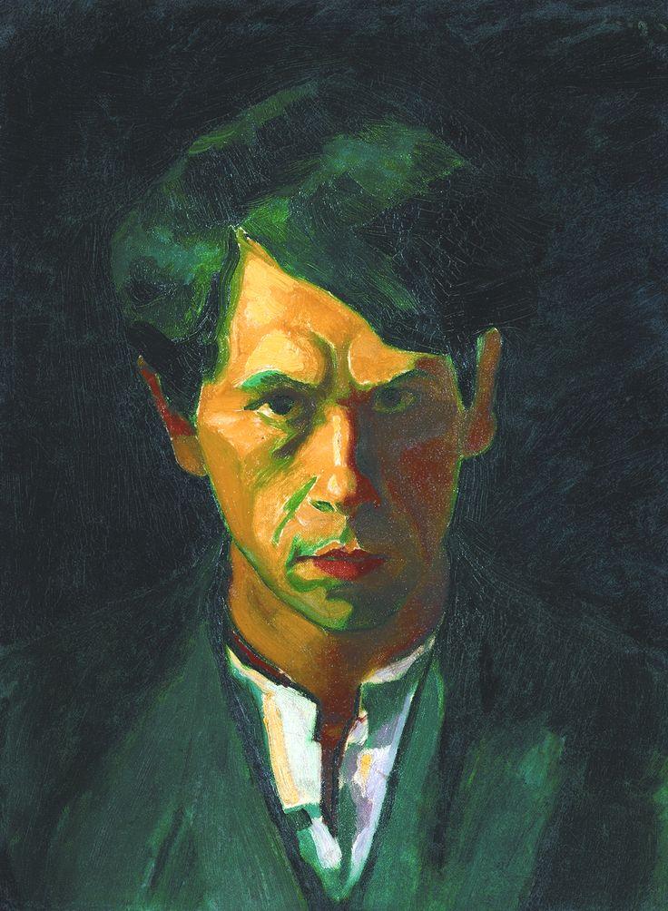 CZIGÁNY Dezső: Self portrait (with green hair), 1909