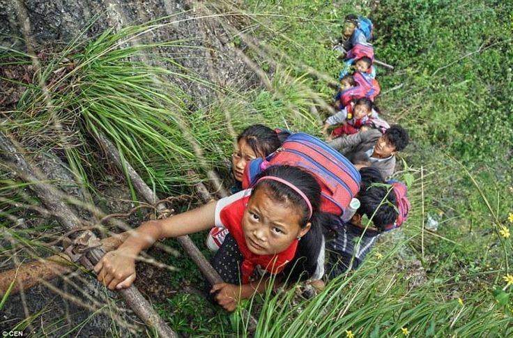 Φωτογραφίες που κόβουν την ανάσα.Στην επαρχία Sichuan,στη Κίνα των ουρανοξυστών και των μεγάλων εργοστασίων,οι μαθητές είναι αναγκασμένοι,να μετακινούνται καθημερινά από ένα χωριό αποκομμένο από την υπόλοιπη περιοχή,στο σχολείο τους,σκαρφαλώνοντας σε γκρεμούς,Οι μαθητές μένουν στο χωριό Atule΄er,σε υψόμετρο 1400 μέτρων,όπου κατοικούν μόλις 72 οικογένειες.Καθημερινά σκαρφαλώνουν με τη βοήθεια μιας ανεμόσκαλας και διασχίζουν μια απότομη βουνοπλαγιά διάρκειας μίας ώρας.