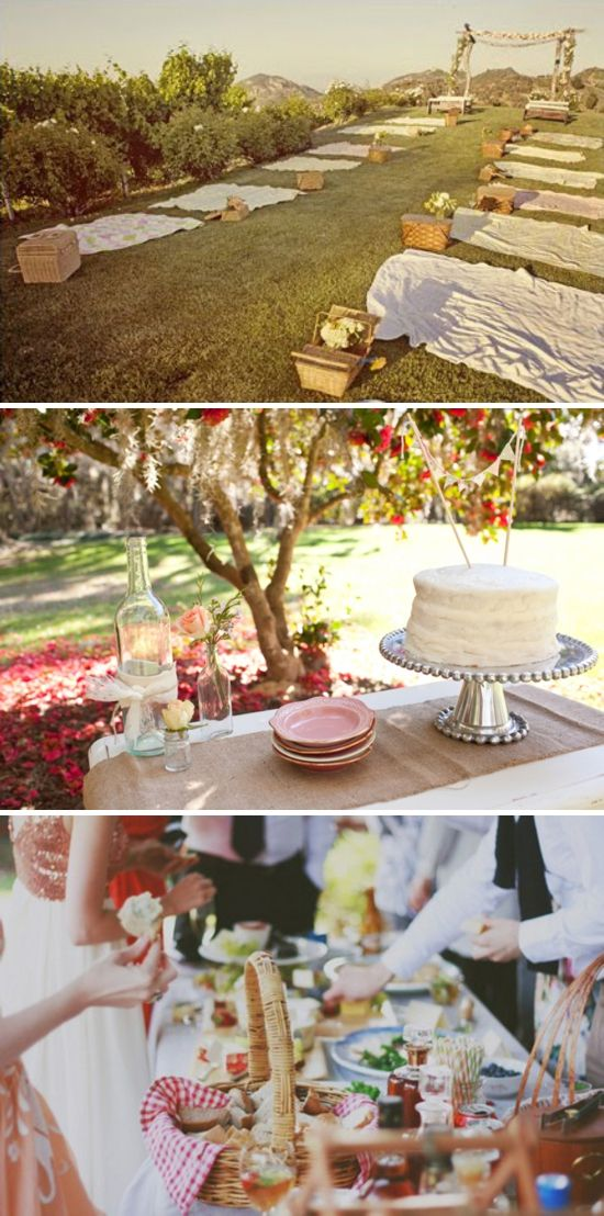 love love love this idea. Picnic wedding reception.  Fun and simple.