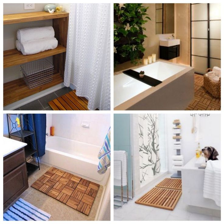 salle de bain IKEA Hacks. Tapis de bain, sortie de bain en bois caillebotis. www.clemaroundthecorner.com