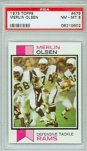 1973 Topps Football 479 Merlin Olsen Rams PSA 8 Near-Mint to Mint by Topps. $12.00. This vintage card featuring Merlin Olsen is # 479 from the 1973 Topps Football set