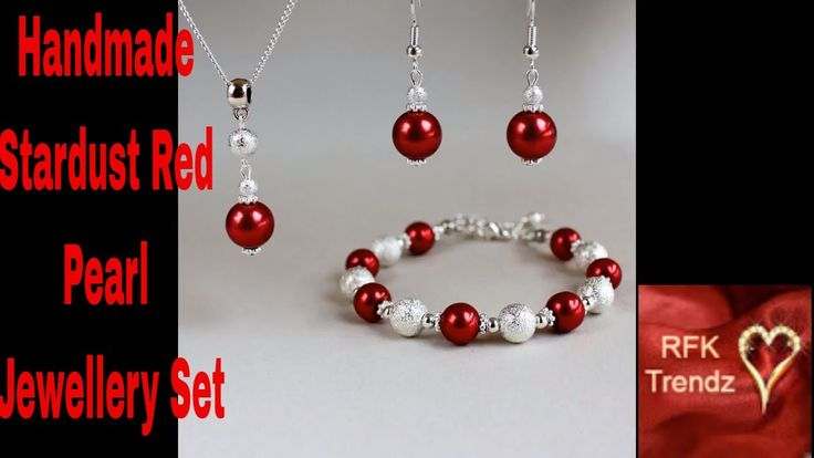 Handmade Stardust Red Pearl Jewellery Set