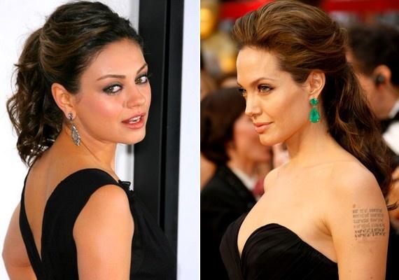 Félhosszú és egészen hosszú hajból is megoldható a félig feltűzött konty. Mila Kunis és Angelina Jolie frizurái.