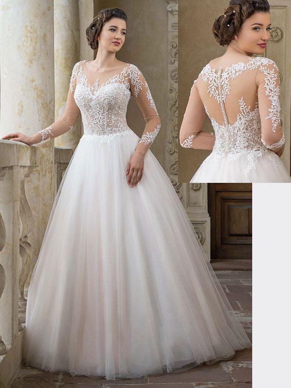 Traumhaftes Brautkleid Mit Spitzenapplikationen Auf Dem Oberteil Tattoo Spitze Und Langen Armeln Brautmode Braut Hochzeitskleid Spitze
