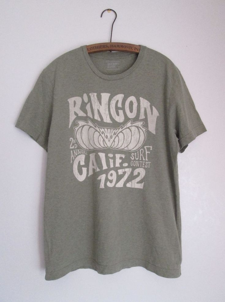 Rincon Surf Contest Distressed Look Green Cotton Mens T-Shirt by Old Navy Large  #OldNavy #GraphicTee