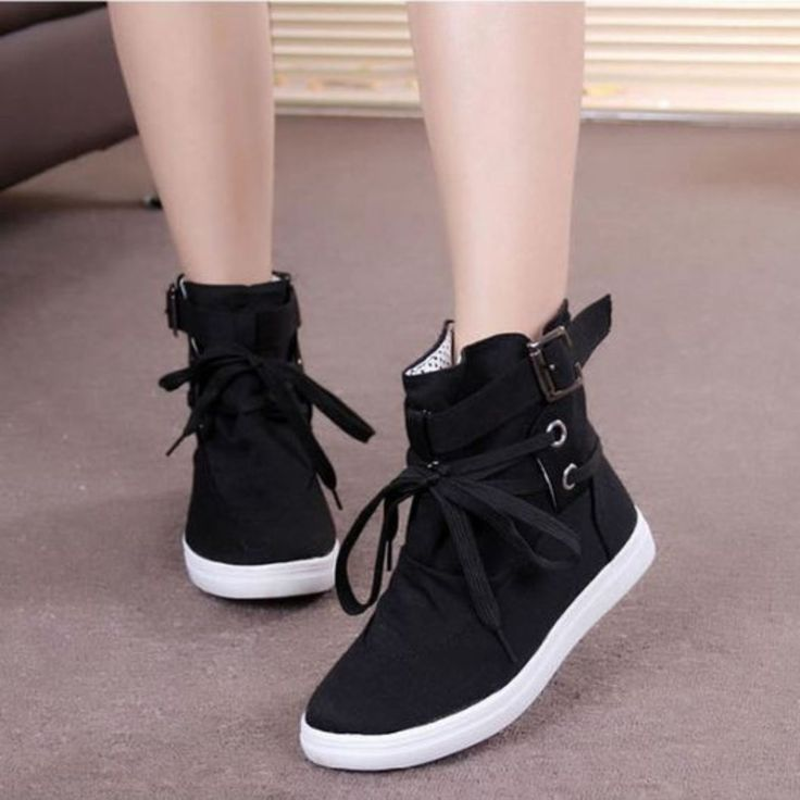 Promotion Women Sneakers Buckle Strap Flats Shoes Ladies Female Casual Lace  Up High Top Sports Canvas Breathable Walking Shoes(China (Mainland))