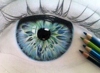 How to draw realistic eyes in coloured pencils (colored)