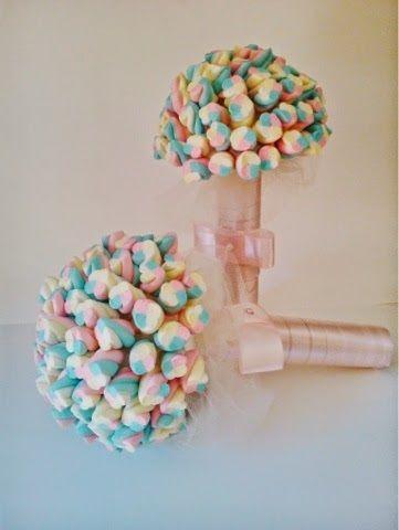 ensinamos no blog como fazer um bouquet de marshmallow