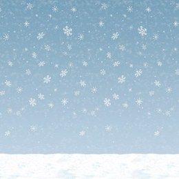 Scenesetter Sneeuwvlokken groot -  Een grote wanddecoratie bedrukt met sneeuw. Perfect voor winterfeesten! Combineer verschillende scenesetters om de juiste sfeer te cre�ren. Afmeting: 120 x 900cm. | www.feestartikelen.nl