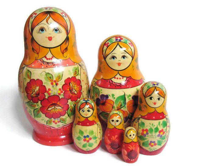 Vintage russische handbemalte rote Blumen aus Holz Folk MATROYSKA Nesting Dolls 6 pc …   – Coveted Castoffs