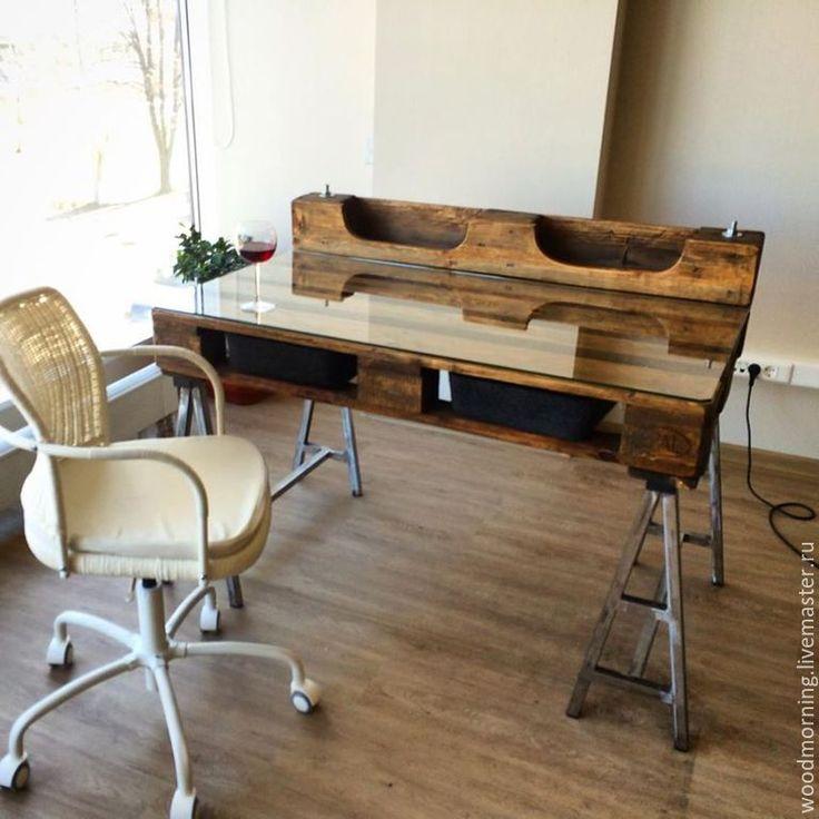 Купить Офисный (рабочий) стол из паллет (из поддонов) - мебель ручной работы, мебель из дерева