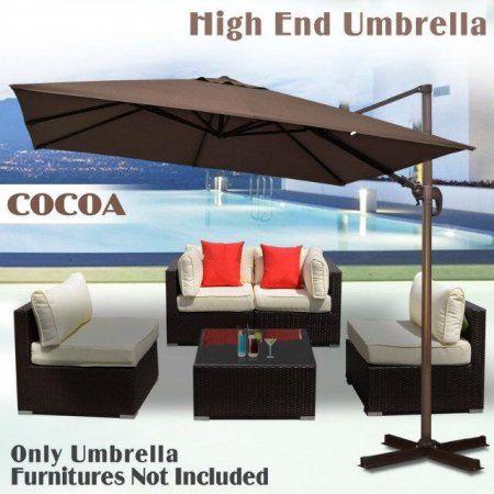 Sunrise Umbrella 10'X10' Deluxe Rome offset Hanging Cantilever Patio Umbrella--Cocoa